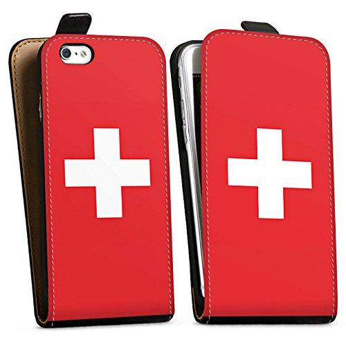 Apple iPhone 6 Silikon Hülle Case Schutzhülle Schweiz Flagge Switzerland Downflip Tasche schwarz