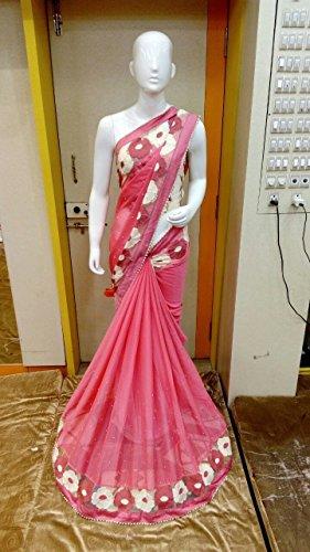 Sarees (Fancy Pink Lace Border Work Saree)