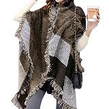 Sciarpa Donna Inverno Grande Vintage Moda Elegante Tartan Style Geometric Scialle a Frange Caldo Foulard Plaid Mantella Stole Sciarpe a Quadri Pashmina Wraps Oversize – Landove