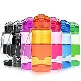 Grsta Sport Trinkflasche, 700ml/24oz - BPA frei Tritan Kunststoff Wasserflasche, Auslaufsicher Sporttrinkflaschen für Laufen, Yoga, Fahrrad, Kinder Schule, Wasser Flaschen mit Sieb, Ein Klick Geöffnet(G-Orange)