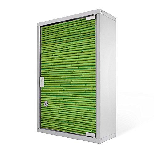 #Medizinschrank groß Edelstahl abschliessbar 30x45x12cm Arzneischrank Medikamentenschrank Hausapotheke Erste Hilfe Schrank Motiv Bambus Grün#