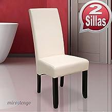 Pack de 2 sillas Osaka blancas de salón comedor de polipiel blanco roto y acolchadas. Nuevo modelo, modernas, alta calidad y económicas. Altura 108cm / Asiento 49x49cm