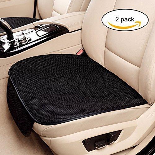 Haosen 2 Stück Auto Sitzauflagen sitzkissen Eisseide Auto Vordersitz Kissen - Auto kissen Rutschfest,Universal,Bequem und atmungsaktiv,Vier Jahreszeiten können genutzt werden (Schwarz) Test
