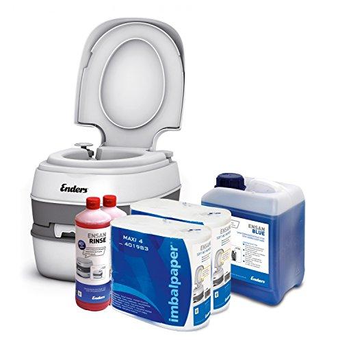 Wc chimico portatile per campeggio, starter set Blue 5,0 Enders Comfort con liquido sanitario e carta igienica - water portatile, wc da campeggio, wc camper, bagno chimico