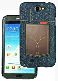 Heartly Jeans Style Printed Design High Quality Hard Bumper Back Case Cover For Samsung Galaxy Note 2 II N7100 - Brown Pocket