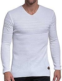 BLZ jeans - Pull fin côtelé homme blanc en col V