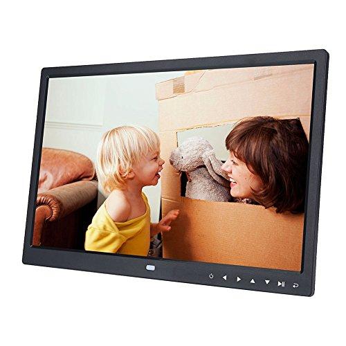 VBESTLIFE Digitaler Bilderrahmen, 15-Zoll-HD-Touchscreen Digitaler Bilderrahmen Kalender Wecker MP3 / 4-Film Unterstützung SD/USB(Schwarz)