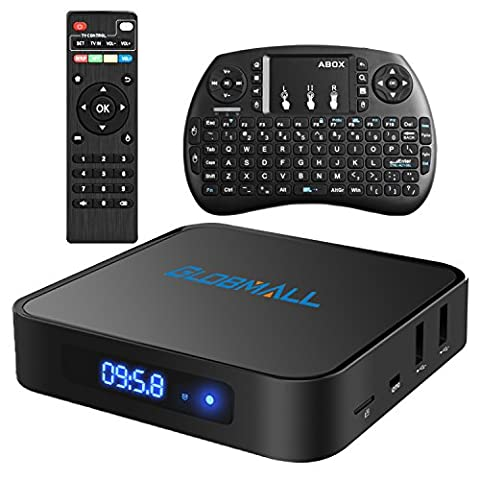 Globmall Android 6.0 TV Box with Mini Wireless Qwerty Keyboard,