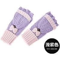 ajunt de El Invierno Color tejer guantes dulce mariposa condensación se refiere a una verdickung Guantes calientes Guantes frías, morado