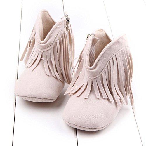BZLine® Kleinkind neugeborenes Mädchen Quaste Schuhe weiche Sohle Stiefel Beige