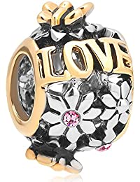 Uniqueen Charm-Anhänger mit Kristall, Blumen-Design, Love, für Pandora-Armband