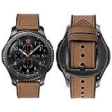 iBazal 22mm Correa Cuero Piel Ibrida Gomma PulseraS Bandas para Samsung Galaxy Watch 46mm SM-R800, Samsung Gear S3 Frontier/Classic SM-R760, Huawei Watch GT/Classic, Ticwatch Pro Hombres- Marrón Claro