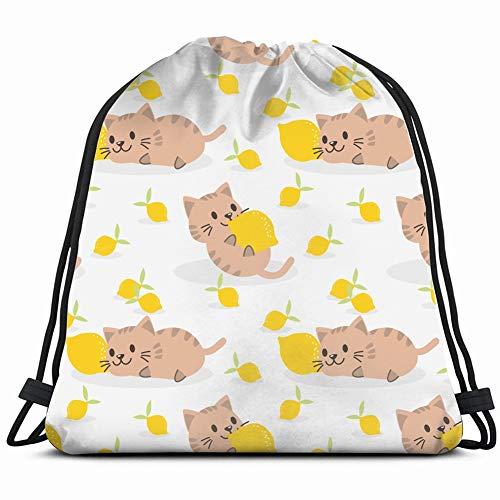 lovely kitten lemon summer animals wildlife animal Drawstring Backpack Gym Sack Lightweight Bag Water Resistant Gym Backpack for Women&Men for Sports,Travelling,Hiking,Camping,Shopping Yoga