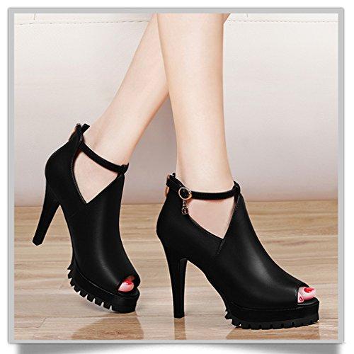 HWF Chaussures femme Chaussures à talons hauts femme mince talons Deep-mouth mode poisson bouche chaussures femmes ( Couleur : Noir , taille : 35 ) Noir
