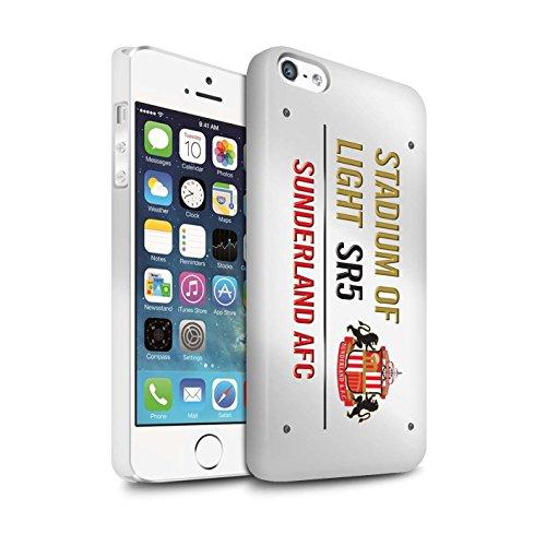 Offiziell Sunderland AFC Hülle / Matte Snap-On Case für Apple iPhone 5/5S / Pack 6pcs Muster / SAFC Stadium of Light Zeichen Kollektion Weiß/Gold