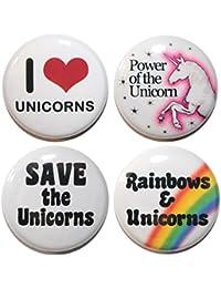 Button Zombie Lot de 4Badges I Love Unicorns 25mm Fabriqué au Royaume-Uni
