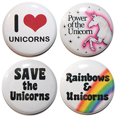 Button Zombie Set of 4 I LOVE UNICORNS Button Badges (25mm/1 Inch) MADE IN UK - By BUTTON ZOMBIE