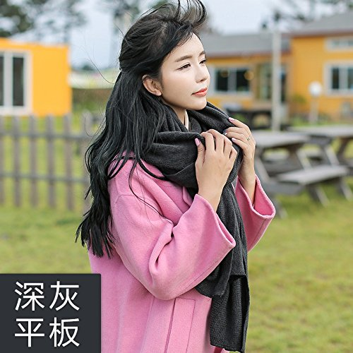 Wuyulunbi@ Winter schal Strickschal Damen Schal langer Schal, Dunkelgrau Platte (Karierte Platten)