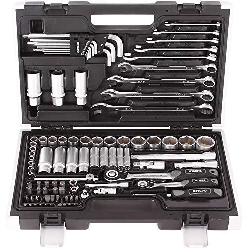 TECPO 300383 Zoll Werkzeug Satz Harley Steckschlüssel Nüsse Größen Nuss Set Ratschenkasten Knarrenkasten (Steckschlüssel 5 64)