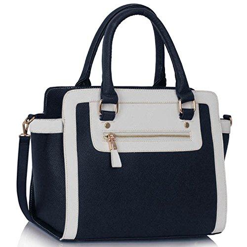 xardi London Monochrome Multi Donna in Pelle Sintetica Borse A Spalla Grab Bags Navy/White Style 1