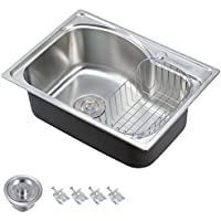 "Voilamart 1.0 Single Bowl Stainless Steel Square Kitchen Sink with Drain Basket, Size 560x410mm/22""x16.1"""
