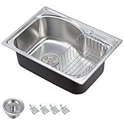 Voilamart 1.0 Single Bowl Stainless Steel Square Kitchen Sink with Drain Basket, Size 560x410mm/22