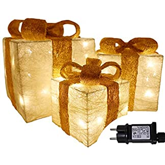 Juego de 3 cajas de regalo Decoración de Navidad Regalos de Navidad iluminados Regalos Adornos Paquetes de oro con Arc rojo 55 LED Alimentadas Red