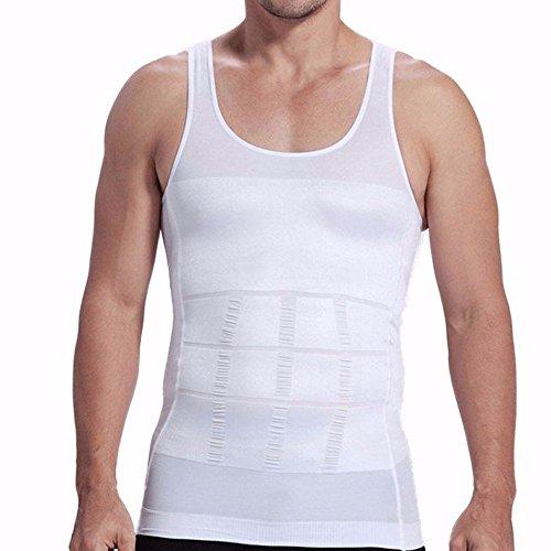 FEESHOW Camiseta Faja Abdominal Entallada Reductora Moldeadora Quemagrasas Adelgazante para Hombre Blanco M
