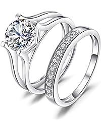 JewelryPalace Mujeres 2.26ct Simple cúbicos Zirconia compromiso y anillos de bodas Plata de ley 925