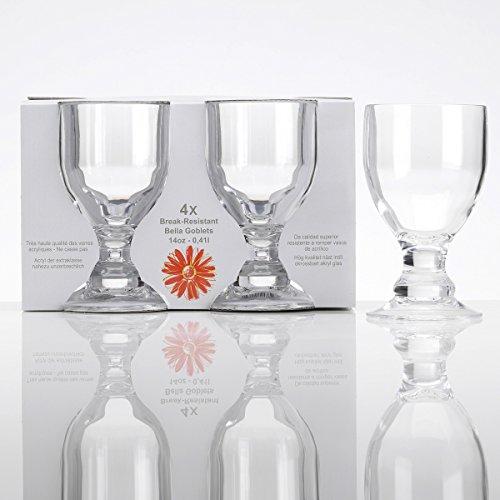 cryl Trinkglas 410 ml, 4 Stück klar Camping Gläser Zubehör Trink Glas Kunststoff Acrylglas Partyglas Wasserglas Bruchfest Trinkbecher Becher Whiskyglas Whiskey Gläser ()