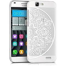 kwmobile Funda para Huawei Ascend G7 - Case plástico para móvil - Cover trasero Diseño Flor a la mitad hindú en blanco transparente