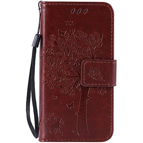 SZYT Handyhülle Handy-Smartphone Hülle Tasche für Apple iPhone 5 / 5S / SE / 5Se, 4.0 Zoll, Impressum Muster Katze und Baum mit schwarzem Griff Hellbraun