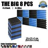 Super Dash Akustiknoppenschaum, 50x 50x 5cm, Keilform, 8 Stück, DD1134, schwarz/blau, 25 X 25 X 5 cm