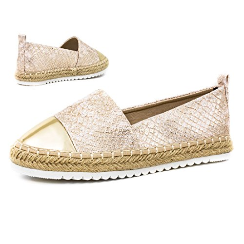 Marimo Damen Espadrilles Low Top Sommer Slipper Sneaker Metallic Lederoptik Y-Golden Metallic