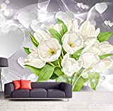 Papel Tapiz 3D Mural Ramo De Tulipanes Blancos Tipo De Corazón Fondo De Sala De Estar Papeles De Pared Decoración Para El Hogar Papel De Parede(W)300x(H)210cm