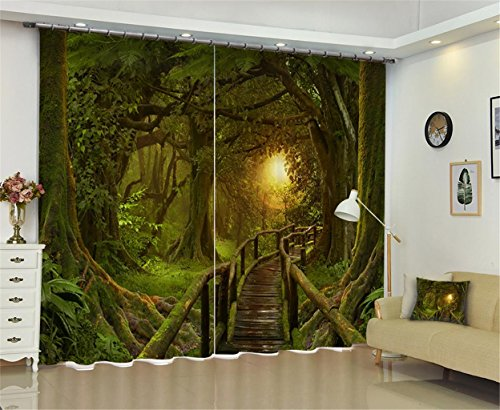 XFKL Im Wald Kleine Brücke 3D-Druck Blackout Vorhänge Home Decor Zimmer Verdunkelung Lärm Reducing Solid Blackout Küche Wohnzimmer Schlafzimmer Erker/Home Dekoration, 118 * 106 inch