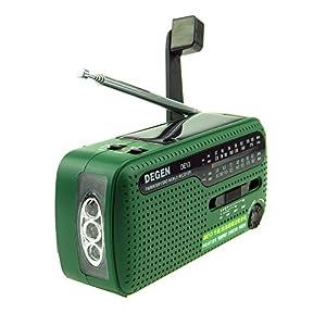 Tragbares Kurbel-Radio Weltempfänger, Degen DE13 FM AM SW Kurbel-Dynamo...
