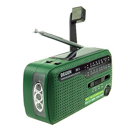 XHD® DEGEN DE13 FM AM SW Crank Dynamo Solar Power Emergency Radio A0798A World Receiver(Green)