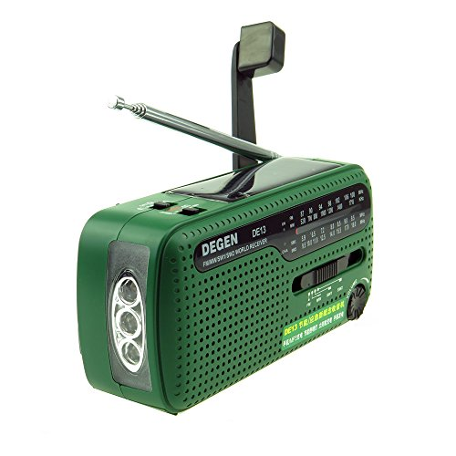 Tragbares Kurbel-Radio Weltempfänger, Degen DE13 FM AM SW Kurbel-Dynamo Solarenergie für den Ausnahmezustand A0798A - Solarenergie-handy-fall