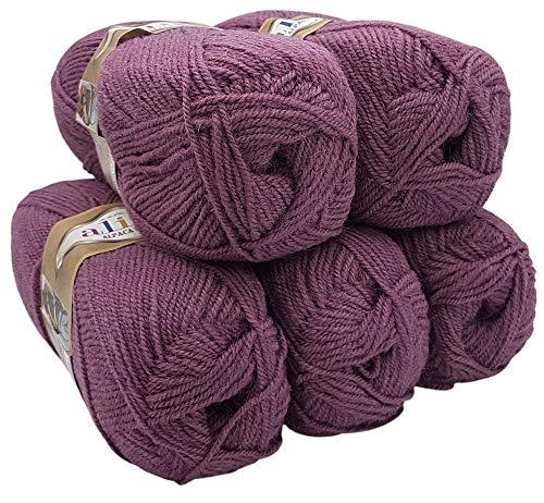 Alpaka Royal 5 x 100 Gramm Alize Strickwolle, 500 Gramm Wolle einfarbig (Flieder 169)