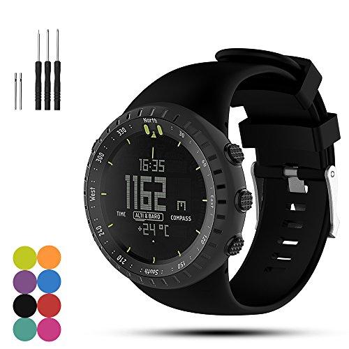 iFeeker Verstellbares Weiches Silikon Ersatz Armbanduhr Armband mit Montage Schraubendreher und Lug Adapter für Suunto Core Alle Black Smart Watch