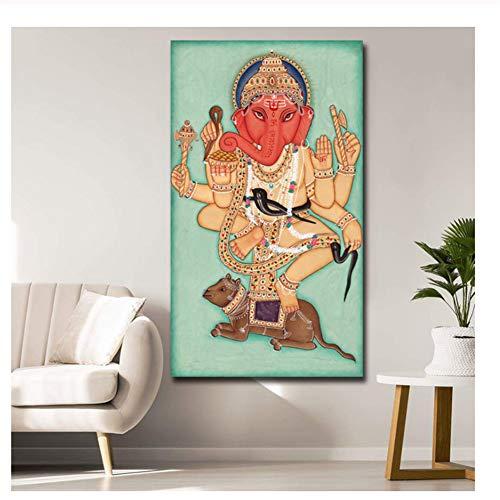 nr Ethnische Religionen Ganesha Judentum und Hinduismus Leinwand Malerei Öldruck Poster Wandkunst HD Bild für Wohnzimmer Home Decor-60x90cm No Frame