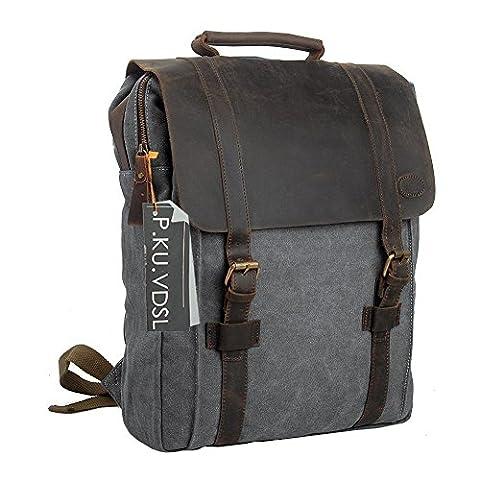 Canvas Leather Backpack, P.KU.VDSL 15