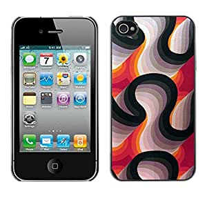 Omega Covers - Snap on Hard Back Case Cover Shell FOR Apple iPhone 4 / 4S - Lines Purple White Black Abstract