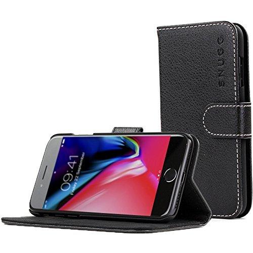 Snugg iPhone 7 and 8 Hülle, Apple iPhone 7 and 8 Klappetui Flip Cover Tasche Leder [Kartenfächer] Schutzhülle Lederbrieftasche Executive Design – Schwarz, Legacy Range