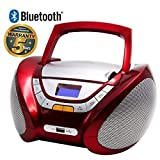 Lauson CP449 - Radio CD Portatile, USB, Bluetooth, Lettore Cd Bambini, Stereo Radio FM, Boombox, CD/MP3 Player, AUX IN, LCD-Display, Rosso