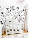 Belle Fleur Papier Peint Papier Peint Noir Blanc Aquarelle Pivoine Extra Large Mur Art Affiche Murale Chambre Mur Décor Wall Sticker 12 * 15Inch