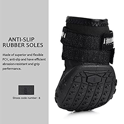 Royalcare Protective Dog Boots, Set of 4 Waterproof Dog Shoes with Wear-resistant and Rugged Anti-Slip Sole Suitable for… 5