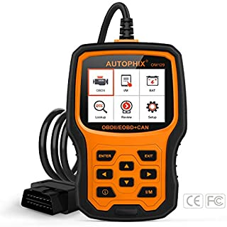 AUTOPHIX OBD2 Scanner, Auto Diagnosegerät OM129 Auto Fahrzeug Code Reader Automotive OBDII Check Engine Light Error Code Reader Car Diagnostic Tool with Battery Voltage Test – Orange