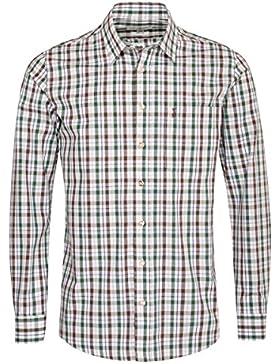 Almsach Trachtenhemd Hans Regular Fit Zweifarbig in Braun und Dunkelgrün Inklusive Volksfestfinder